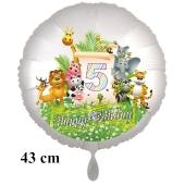 Luftballon Zahl 5 zum 5. Geburtstag, 43 cm, Dschungel mit Wildtieren
