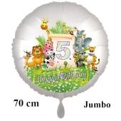 Luftballon Zahl 5 zum 5. Geburtstag, 70 cm, Dschungel mit Wildtieren
