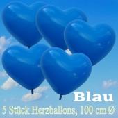 Große Herzluftballons, 100 cm, Blau, 5 Stück