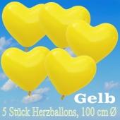 Große Herzluftballons, 100 cm, Gelb, 5 Stück