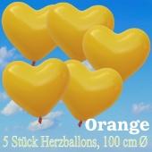 Große Herzluftballons, 100 cm, Orange, 5 Stück