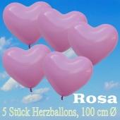 Große Herzluftballons, 100 cm, Rosa, 5 Stück