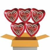 5 rote Herzluftballons aus Folie: Zur Rosenhochzeit herzlichste Glückwünsche!
