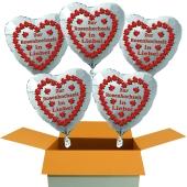 5 weiße Herzluftballons aus Folie: Zur Rosenhochzeit in Liebe!
