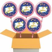 5 Luftballons aus Folie mit Ballongas Helium zum 1 Geburtstag, rosa, mit goldenen Sternen und blauem Abendhimmel, inklusive Ballongas-Helium
