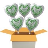 5 weiße Herzluftballons aus Folie zur Petersilienhochzeit, Herzlichen Glückwunsch 12 ½ Jahre