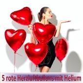 5 Herzluftballons in Rot mit Ballongas Helium zum Valentinstag