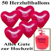Ballons Helium Einweg Set, 50 Herzluftballons Alles Gute zur Hochzeit mit dem Helium Einwegbehälter