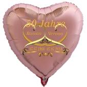 Herzballon aus Folie, Goldene Hochzeit, ros´gold, Mit Namen der Brautleute und Daten der Hochzeitstage