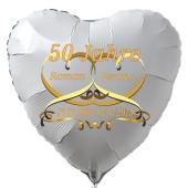 Herzballon aus Folie, Goldene Hochzeit, weiß. Mit Namen der Brautleute und Daten der Hochzeitstage