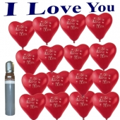 Ballons Helium Set 50 rote Herzluftballons I Love You mit Ballongasflasche