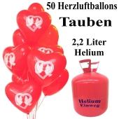 50 Herzluftballons Hochzeitstauben im Herz, 2,2 Liter Einweg-Helium, Ballons Helium Set Hochzeit