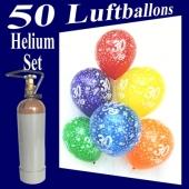 50 Zahlenluftballons Zahl 30, Geburtstag, Jubiläum, Ballons Helium Set mit Ballongasflasche