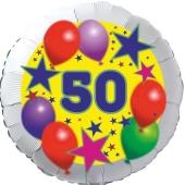 Sterne und Ballons 50, Luftballon aus Folie zum 50. Geburtstag, ohne Ballongas