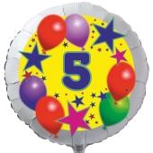 Luftballon aus Folie zum 5. Geburtstag, weisser Rundballon, Sterne und Luftballons, inklusive Ballongas