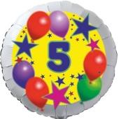 Sterne und Ballons 5, Luftballon aus Folie zum 5. Geburtstag, ohne Ballongas