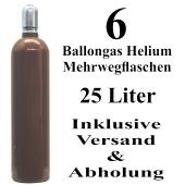 6 Ballongas Helium 25 Liter Flaschen