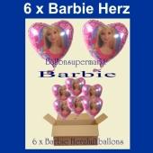 6 Barbie Ballons, Herzballons, Luftballons Barbie Herzen mit Heliumgas