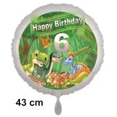 Dinosaurier Luftballon Zahl 6 zum 6. Geburtstag, 43 cm