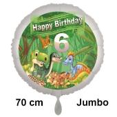 Dinosaurier Luftballon Zahl 6 zum 6. Geburtstag, 70 cm