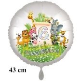 Luftballon Zahl 6 zum 6. Geburtstag, 43 cm, Dschungel mit Wildtieren