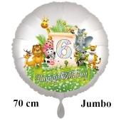 Luftballon Zahl 6 zum 6. Geburtstag, 70 cm, Dschungel mit Wildtieren