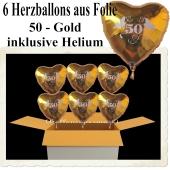 Dekoration Goldene Hochzeit, 6 Herzballons aus Folie mit Helium, 50-Gold
