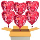 6 Hochzeitsballons, Luftballons zur Hochzeit, rote Herzballons mit Trauringen, Hochzeitstaube und Schwänen, Alles Gute zur Hochzeit, inklusive Ballongas Helium