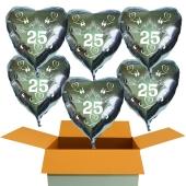 6 Herzluftballons aus Folie in Silber, Tauben, Herzen und Schleifen, Zahl 25, zur Silbernen Hochzeit inklusive Helium Ballongas
