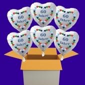 6 weiße Herzluftballons aus Folie: 60 Jahre, Diamantene Hochzeit
