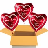 3 Rote Herzluftballons aus Folie: 60 Jahre, Diamantene Hochzeit