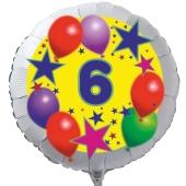 Luftballon aus Folie zum 6. Geburtstag, weisser Rundballon, Sterne und Luftballons, inklusive Ballongas