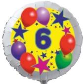 Sterne und Ballons 6, Luftballon aus Folie zum 6. Geburtstag, ohne Ballongas