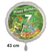 Dinosaurier Luftballon Zahl 7 zum 7. Geburtstag, 43 cm