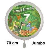 Dinosaurier Luftballon Zahl 7 zum 7. Geburtstag, 70 cm