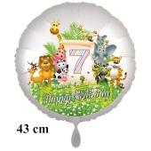 Luftballon Zahl 7 zum 7. Geburtstag, 43 cm, Dschungel mit Wildtieren