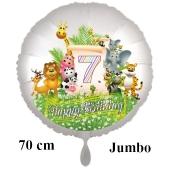 Luftballon Zahl 7 zum 7. Geburtstag, 70 cm, Dschungel mit Wildtieren