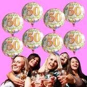 7 Ballons mit Helium-Ballongas, Zahl 50, zum 50. Geburtstag