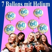 7 Ballons mit Helium-Ballongas, Zahl 60, zum 60. Geburtstag