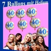 7 Ballons mit Helium-Ballongas, Zahl 40, zum 40. Geburtstag