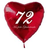 Zum 72. Geburtstag, roter Herzluftballon mit Helium