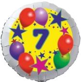 Sterne und Ballons 7, Luftballon aus Folie zum 7. Geburtstag, ohne Ballongas