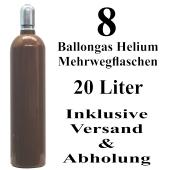 8 Ballongas Helium 20 Liter Mehrwegflaschen