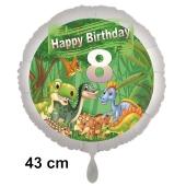 Dinosaurier Luftballon Zahl 8 zum 8. Geburtstag, 43 cm