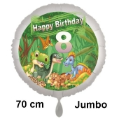 Dinosaurier Luftballon Zahl 8 zum 8. Geburtstag, 70 cm