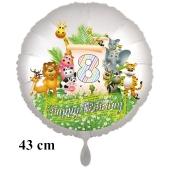 Luftballon Zahl 8 zum 8. Geburtstag, 43 cm, Dschungel mit Wildtieren