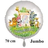 Luftballon Zahl 8 zum 8. Geburtstag, 70 cm, Dschungel mit Wildtieren