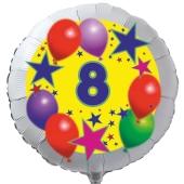 Luftballon aus Folie zum 8. Geburtstag, weisser Rundballon, Sterne und Luftballons, inklusive Ballongas