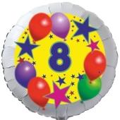 Sterne und Ballons 8, Luftballon aus Folie zum 8. Geburtstag, ohne Ballongas