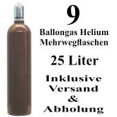 9 Ballongas Helium 25 Liter Flaschen